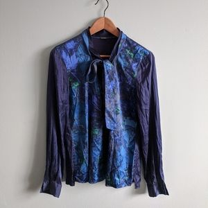 Elie tahari silk blend neck tie blouse